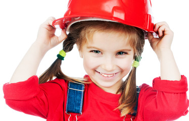Little girl in red helmet