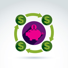 Money dollar signs rotating around the piggy bank vector concept