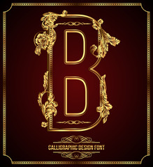 Calligraphic Design Font with Typographic Floral Elements.
