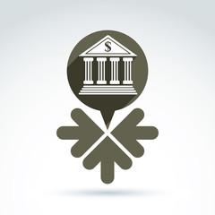 Vector banking symbol, revenue sources concept. Speech bubbles w