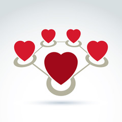 Vector connected loving hearts place in a circles. Location symb