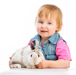 baby with rabbit