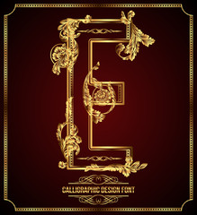 Calligraphic Design Font with Typographic Floral Elements. E