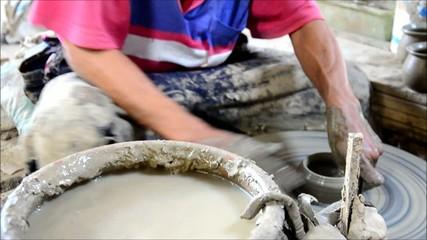 Mechanic pottery made earthenware at Koh Kret Island