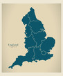Modern Map - England with counties UK - 70997112