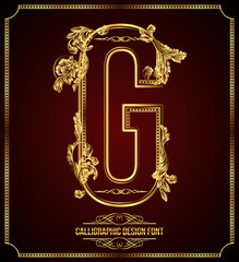 Calligraphic Design Font with Typographic Floral Elements. G