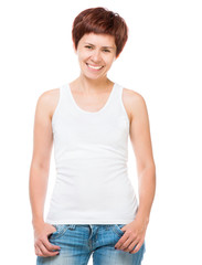 White t-shirt on a young woman