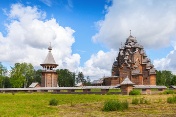 Russian wooden Church of the Intercession. Nevsky forest Park. S