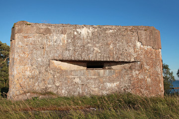 Old concrete bunker from WW2 period on Totleben fort island in R