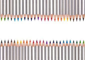 Line of colored pencils, isolated on white