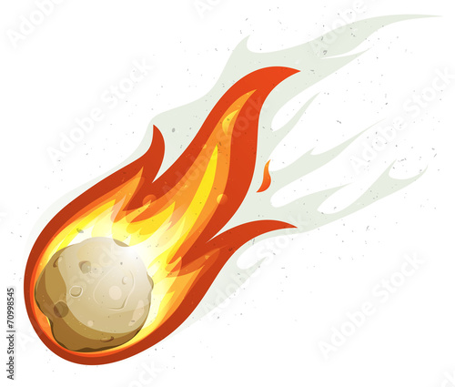Cartoon Fireball And Comet Flying - 70998545