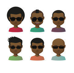 Cartoon male with sunglasses avatar set