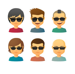 Cartoon male with sunglasses avatar set