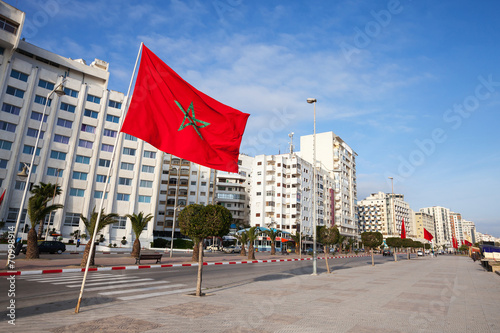Fotobehang Marokko Avenue Mohammed VI in new part of Tangier, Morocco