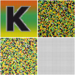 Letter K (mixed mosaic)