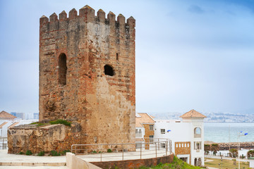 Ancient fortress tower in Tangier town, Morocco