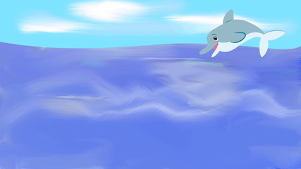 cartoon dolphin jumping on sea