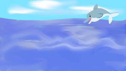 cartoon dolphin jumping on sea