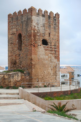 Ancient fort tower monument in Tangier, Morocco