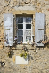 old window,Rennes-le-Château, Languedoc, France