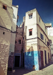 Narrow streets of old Medina of Tangier, Morocco. Instagram Effe