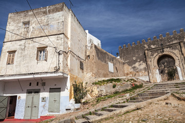 Ancient fortress and living houses. Madina, old part of Tangier,