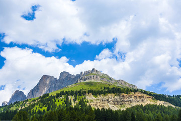 view to the Karer pass in the dolomite alpes
