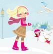 Leinwanddruck Bild - girls playing in a winter day
