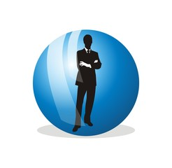 vector business man inside blue globe