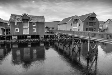 Wooden houses on the coast in Norwegian fishing village. Rorvik,