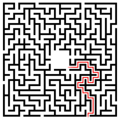 Black square maze (22x22) with help