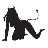 Fototapety Vector of beautiful sexy devil women silhouettes isolated