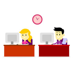 Man and Woman Working on Office Computer