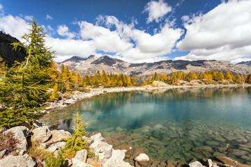 lago alpino in veste autunnale