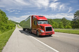 Red Semi Truck On Interstate In Springtime poster