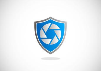 video media shield protection vector logo