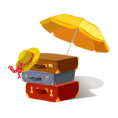 suitcases, beach umbrella, hat, isolated