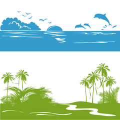 banner with a sea view and the tropics, silhouette