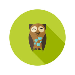 Brown Owl Flat Icon with Hearts over Green
