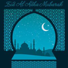 Eid Al Adha window card in vector format.
