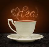 Cup of tea and heart and love with a pair of tea. Concept graphi poster