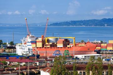 Ship in seaport