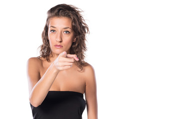 Young Woman pointing finger to You on white isolated background