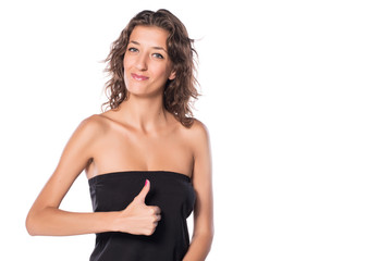 Young Woman Thumb Up Smiling on white isolated background