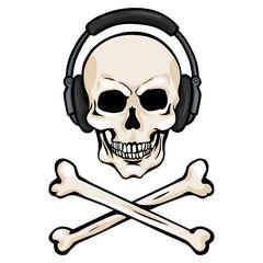 Vector Cartoon Skull with Headphones and Cross Bones