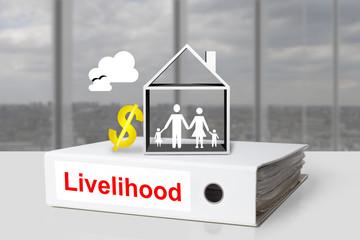 office binder livelihood family home dollar sign
