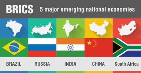 Brazil, Russia, India, China, South Africa map in flat design