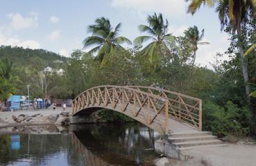 Foot bridge through channel. Les Trois-Îlets, Martinique
