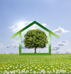 Haus auf Blumenwiese/Symbol