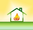 canvas print picture - Haus mit Gas/Wärme - Symbol